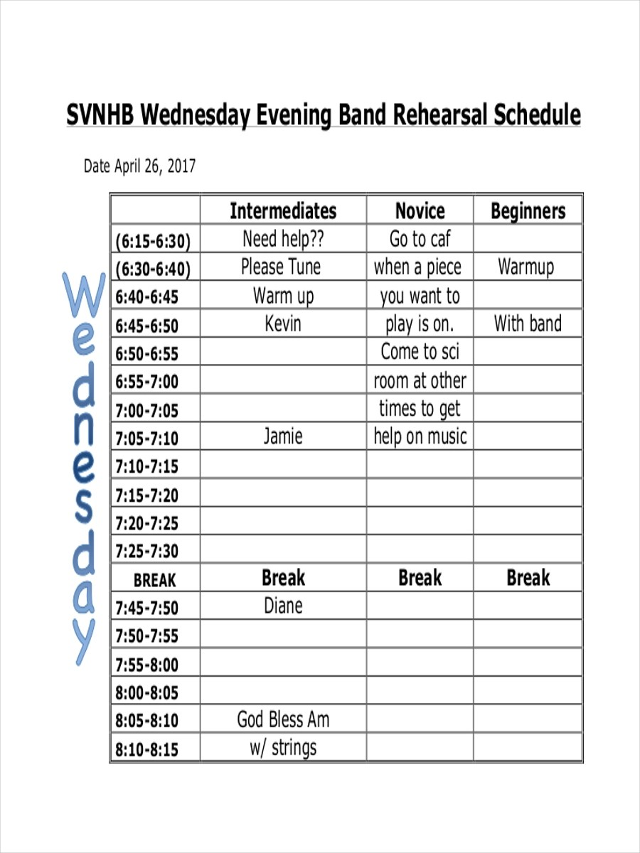 8 Rehearsal Schedule Examples Samples Examples