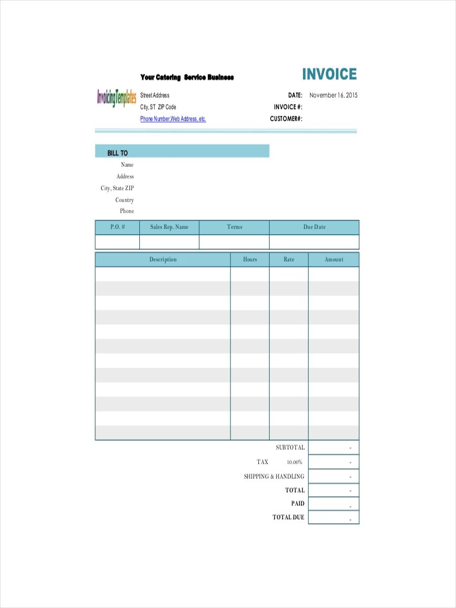 receipt template for services