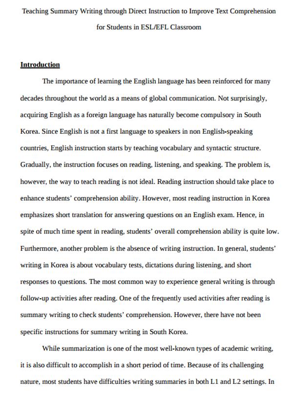 Essay Summary Example