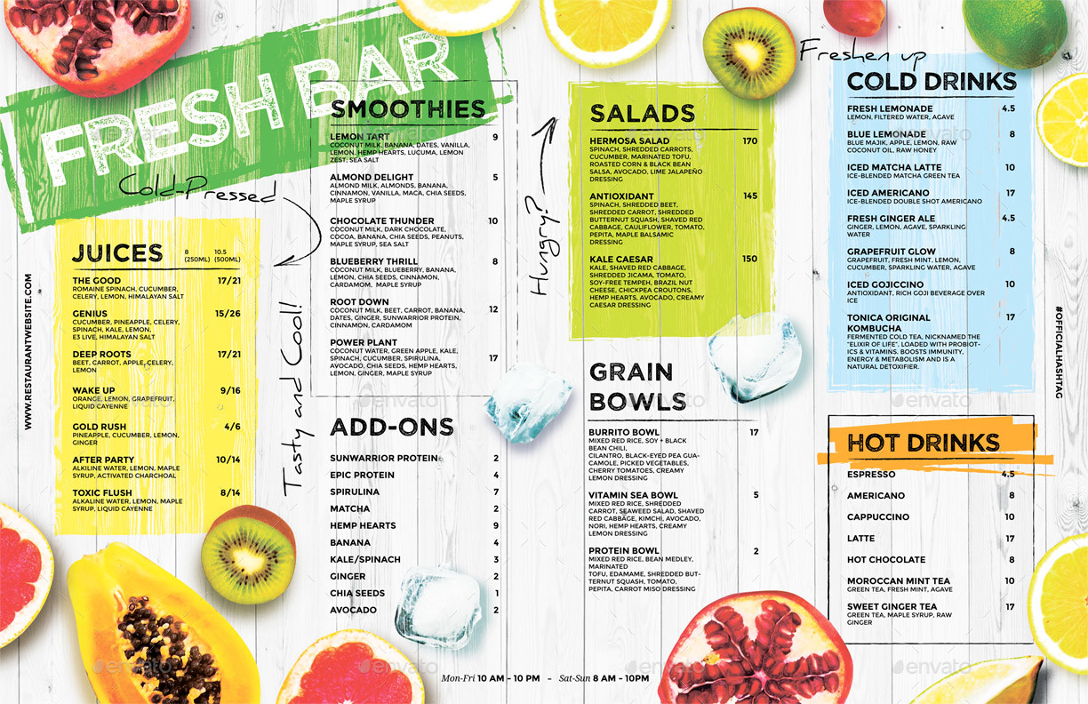 10 Examples Of Drink Menu Editable PSD AI PNG Format