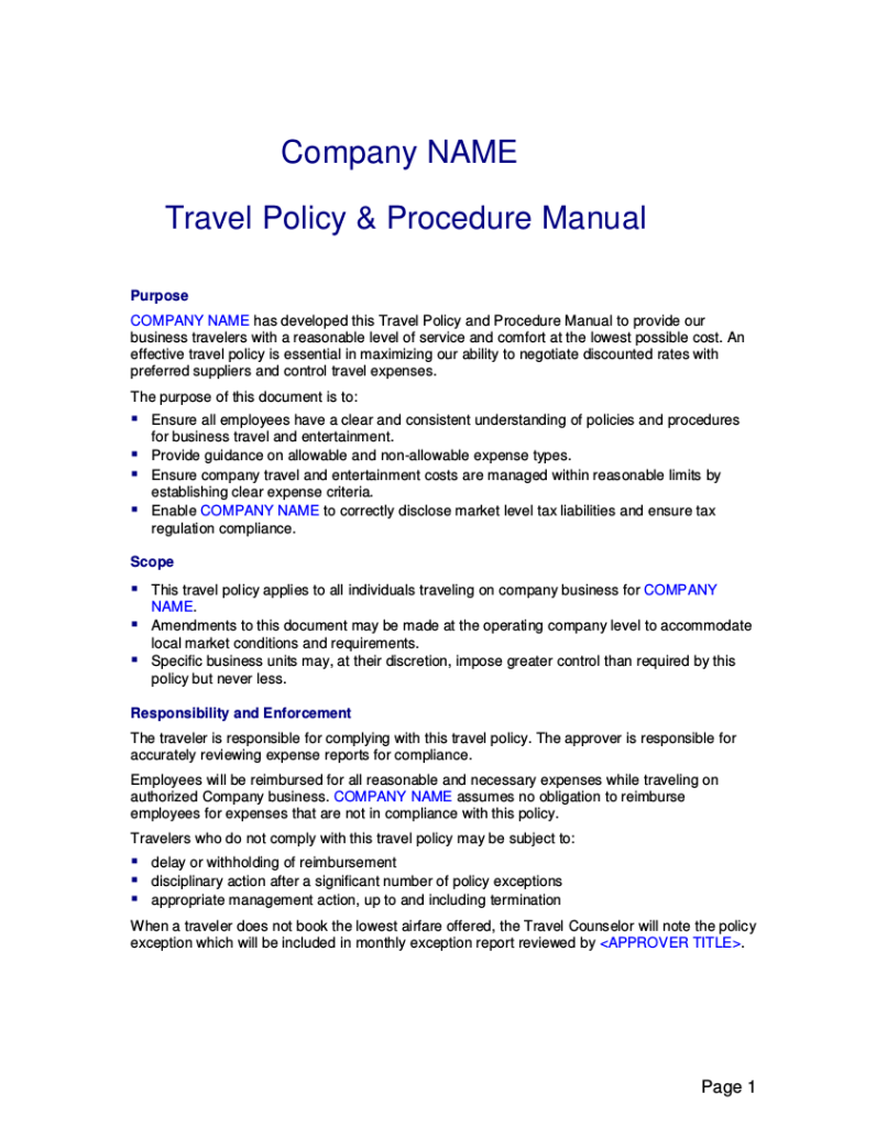 19 travel policy examples samples travel allowance policy template