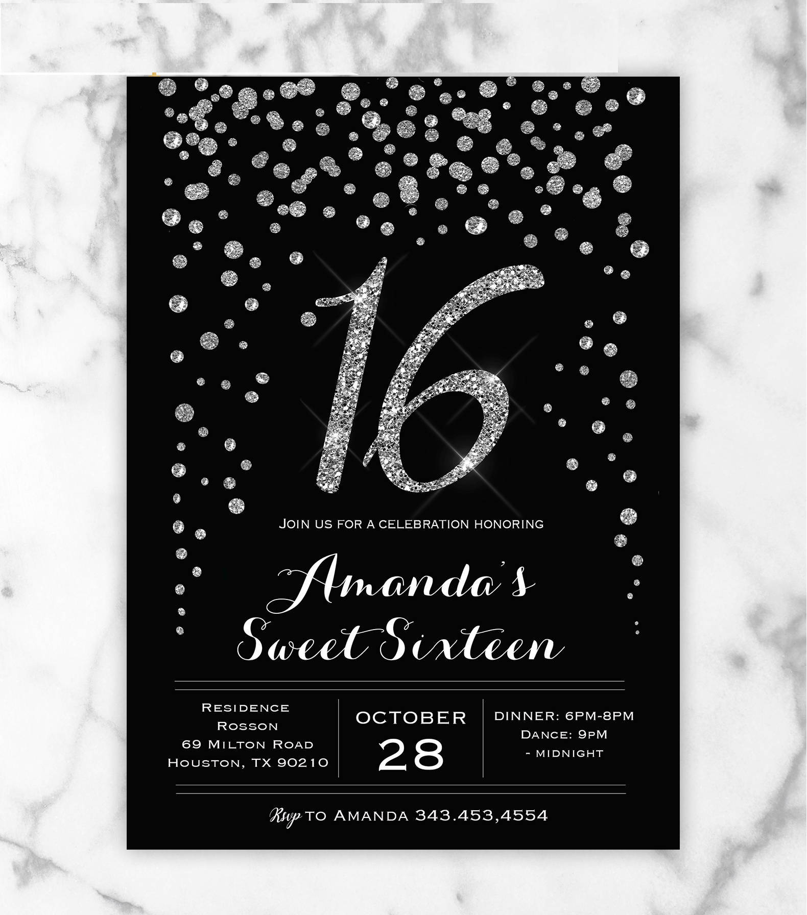 14 sweet 16 invitation