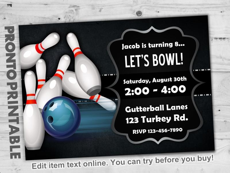 free 15 bowling invitation designs