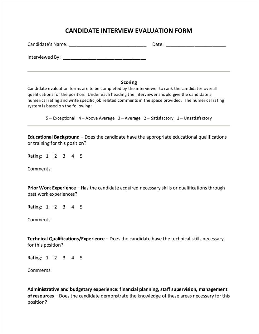sample interview assessment sheet