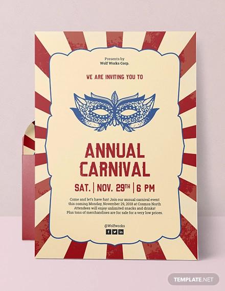 carnival party invitation designs