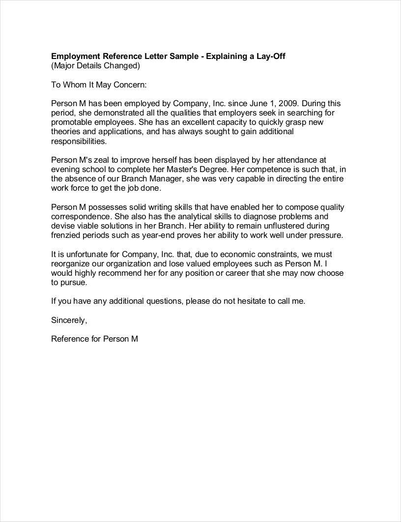 sample letter of recommendation for laid off employee