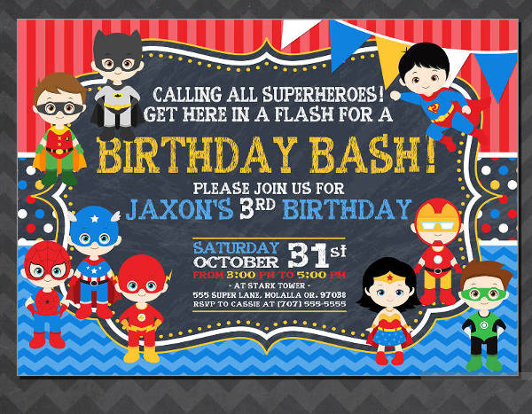 free 19 superhero birthday invitations