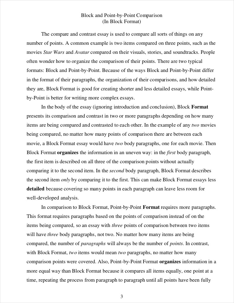 Compare And Contrast Essay Example For College 9 Comparative Essay Samples Free Pdf Format Download Examples