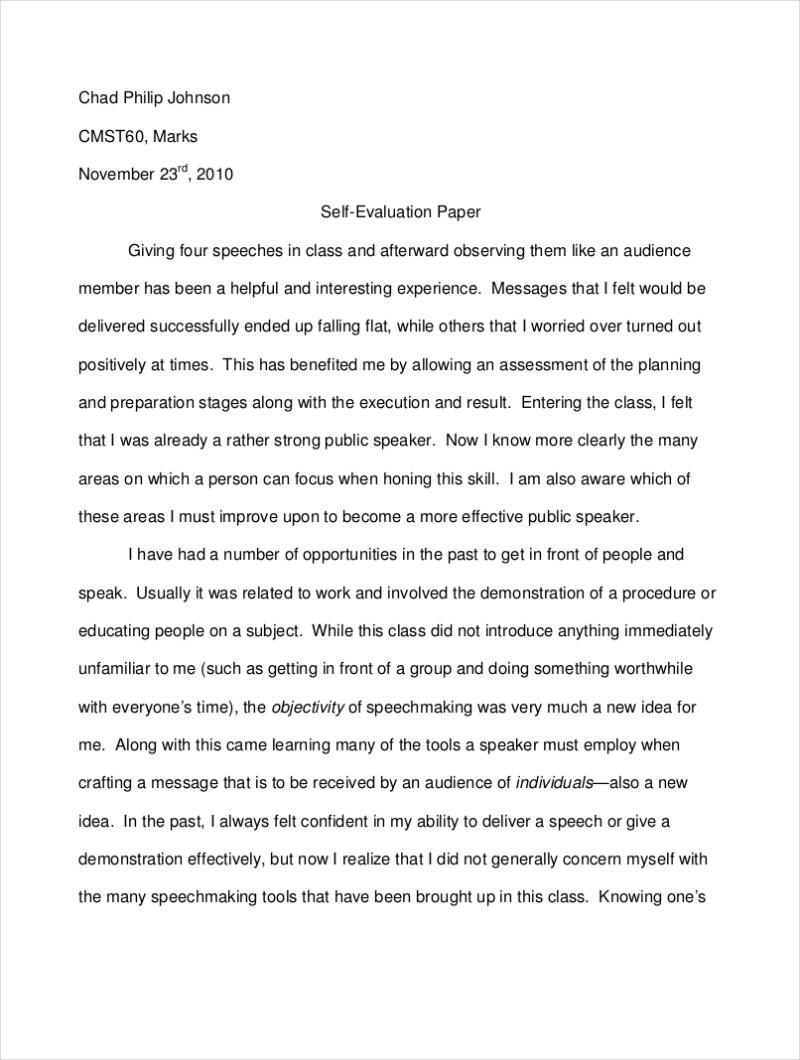 Self Evaluation Essay Sample | Infoupdate.org