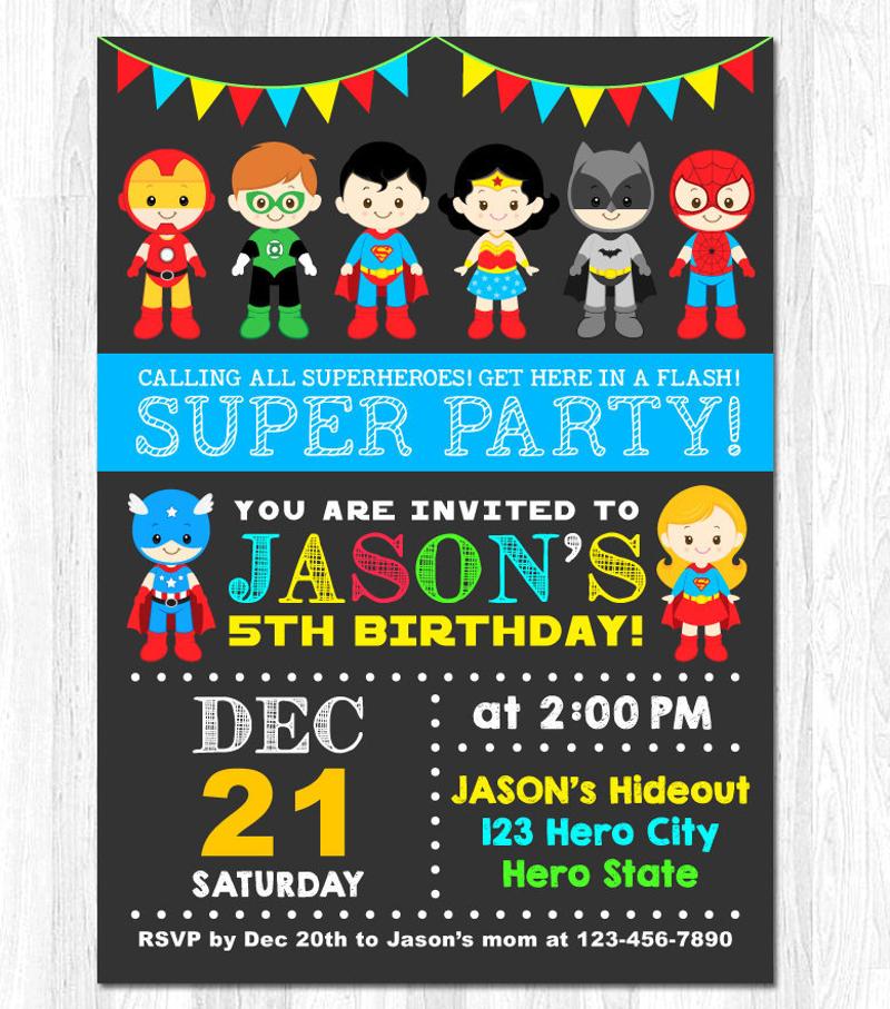 superhero invitation designs examples