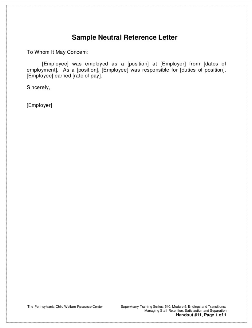 s le neutral employment reference letter