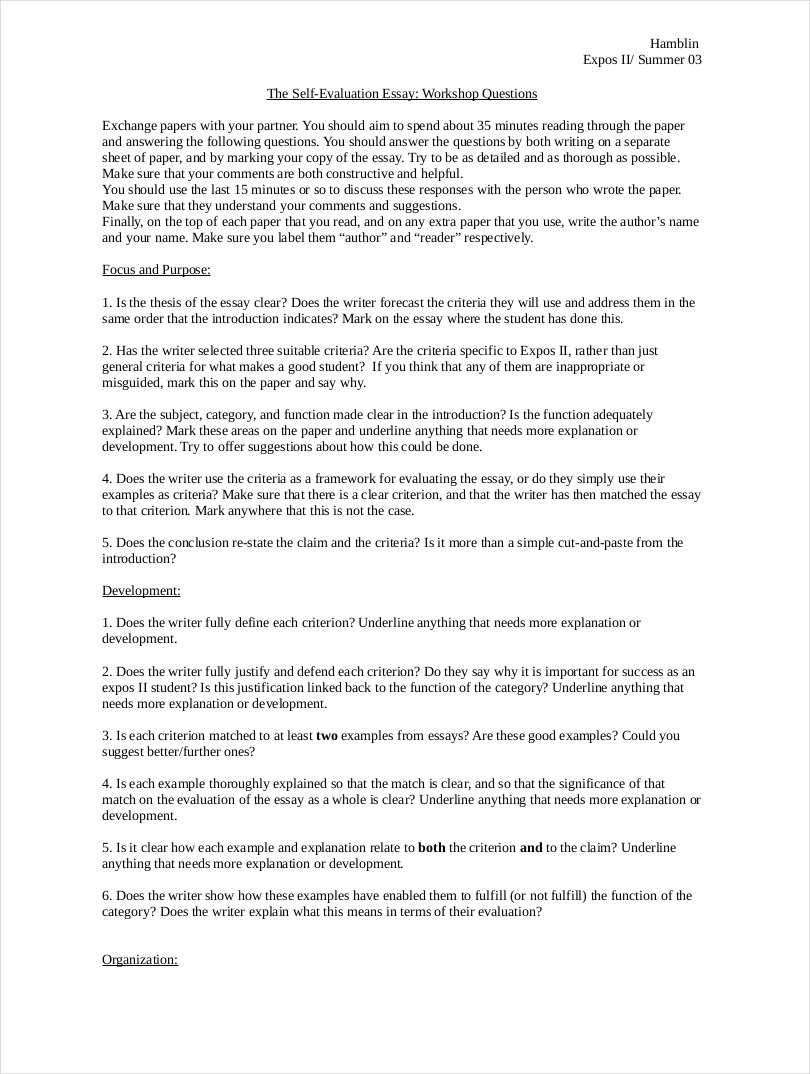 9 Evaluation Essay Examples Free PDF Format Download