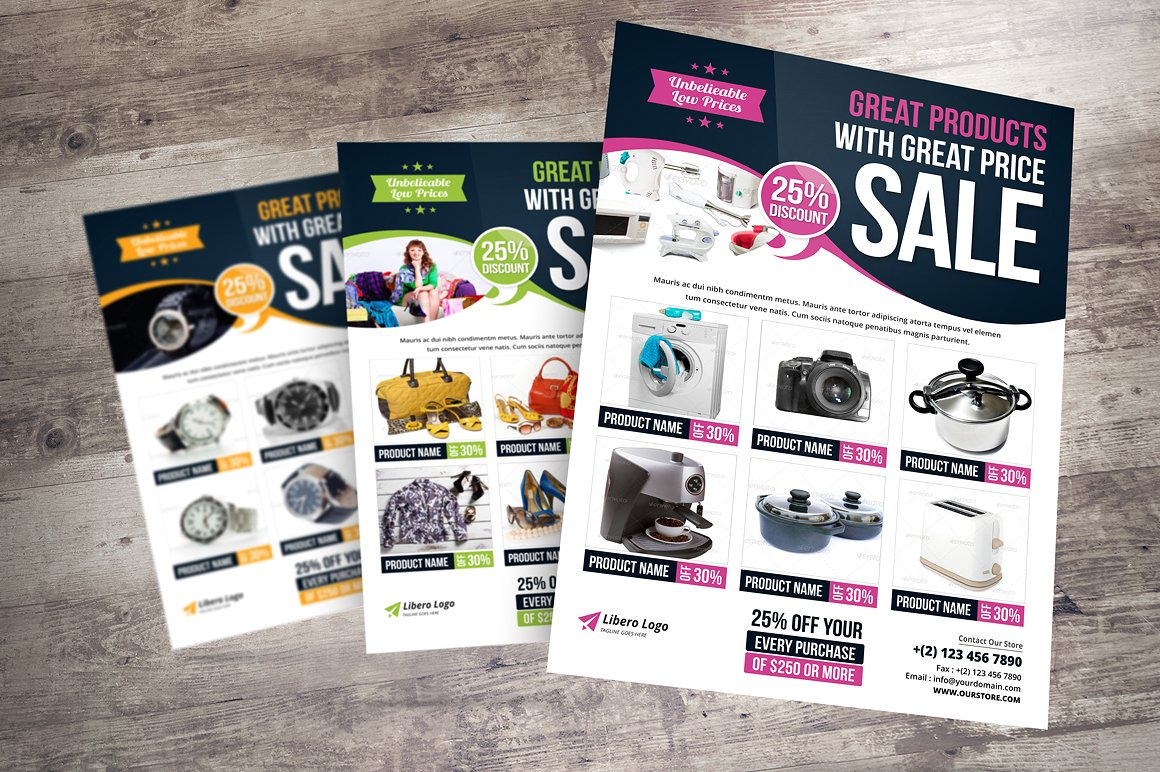 24 product promotion flyers