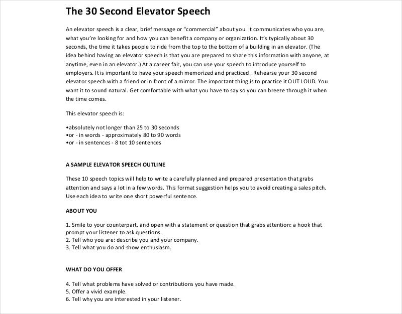 13 Elevator Speech Examples & Samples In PDF