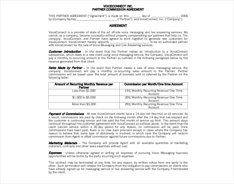 Company and payee enter into this agreement whereby payee provides services to the company in return. 18 Commission Agreement Examples Pdf Doc Pages Examples