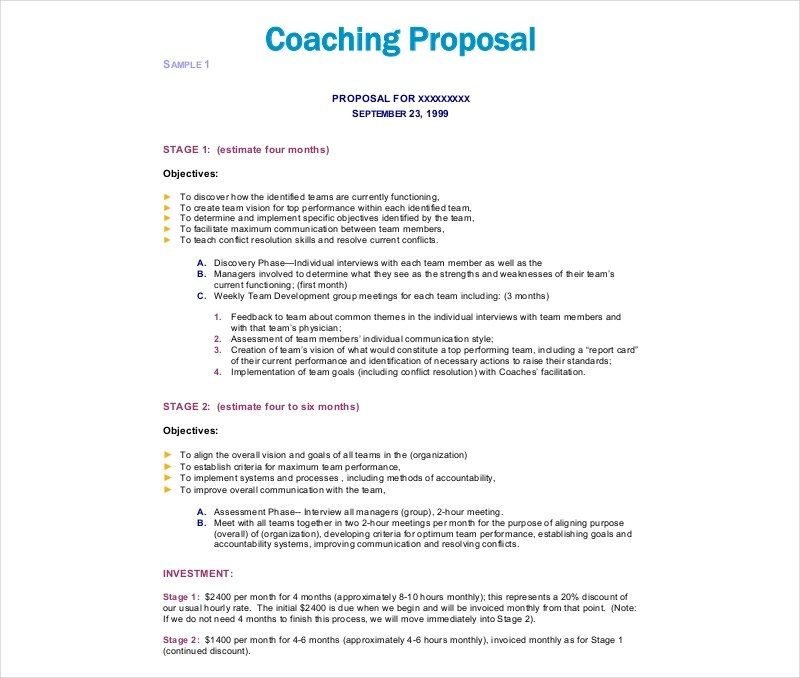 9 Coaching Proposal Examples & Samples In PDF
