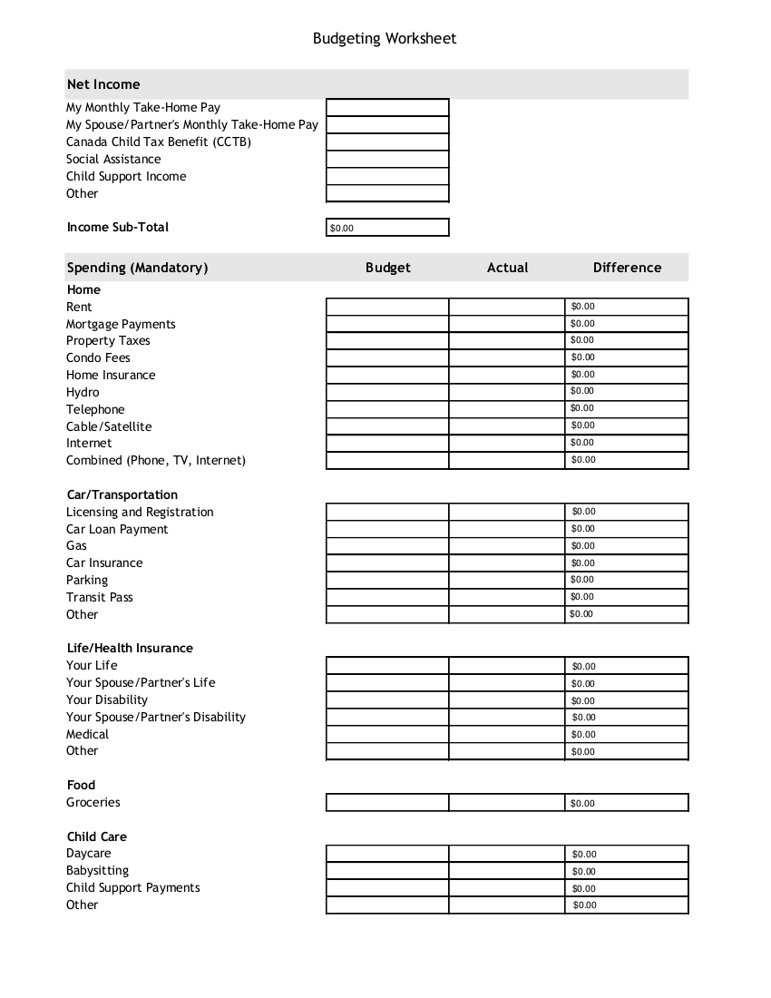budget worksheet example