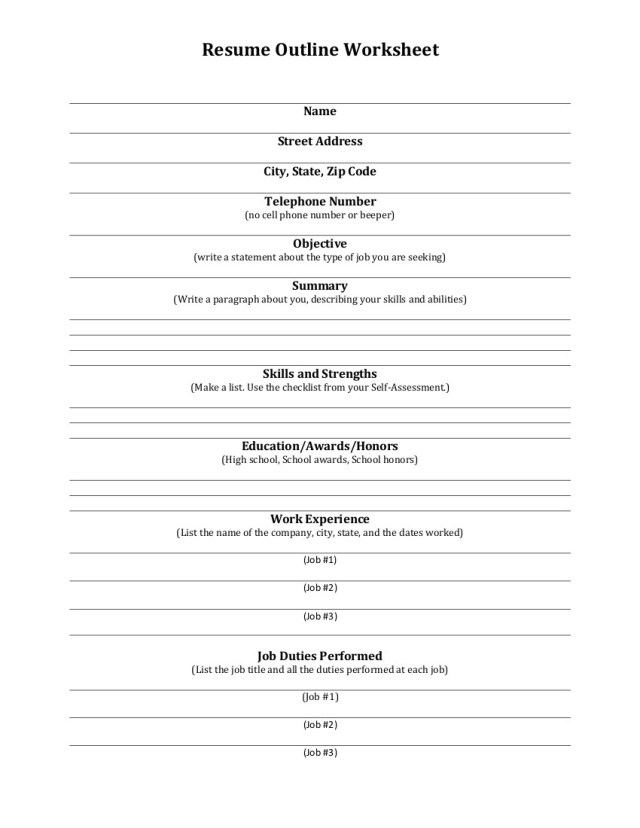 Resume Outline - Guidelines & Examples  Examples