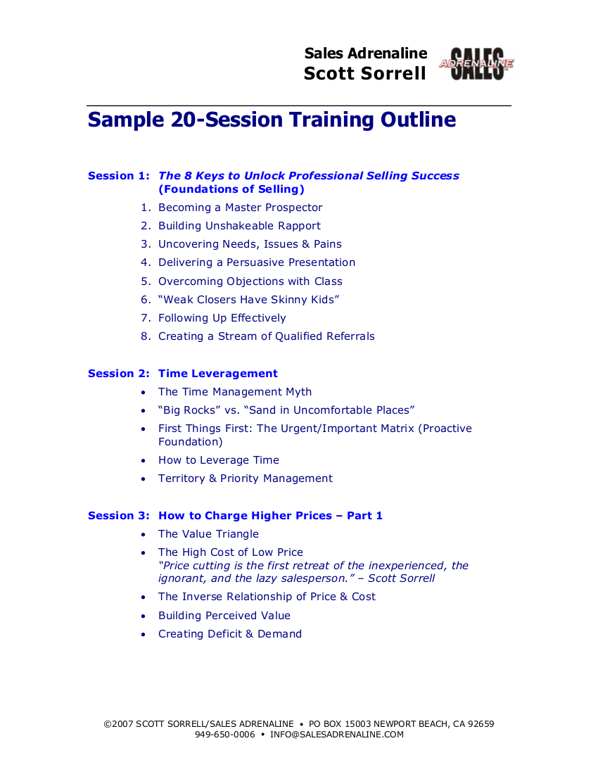 9 Training Outline Examples PDF Examples