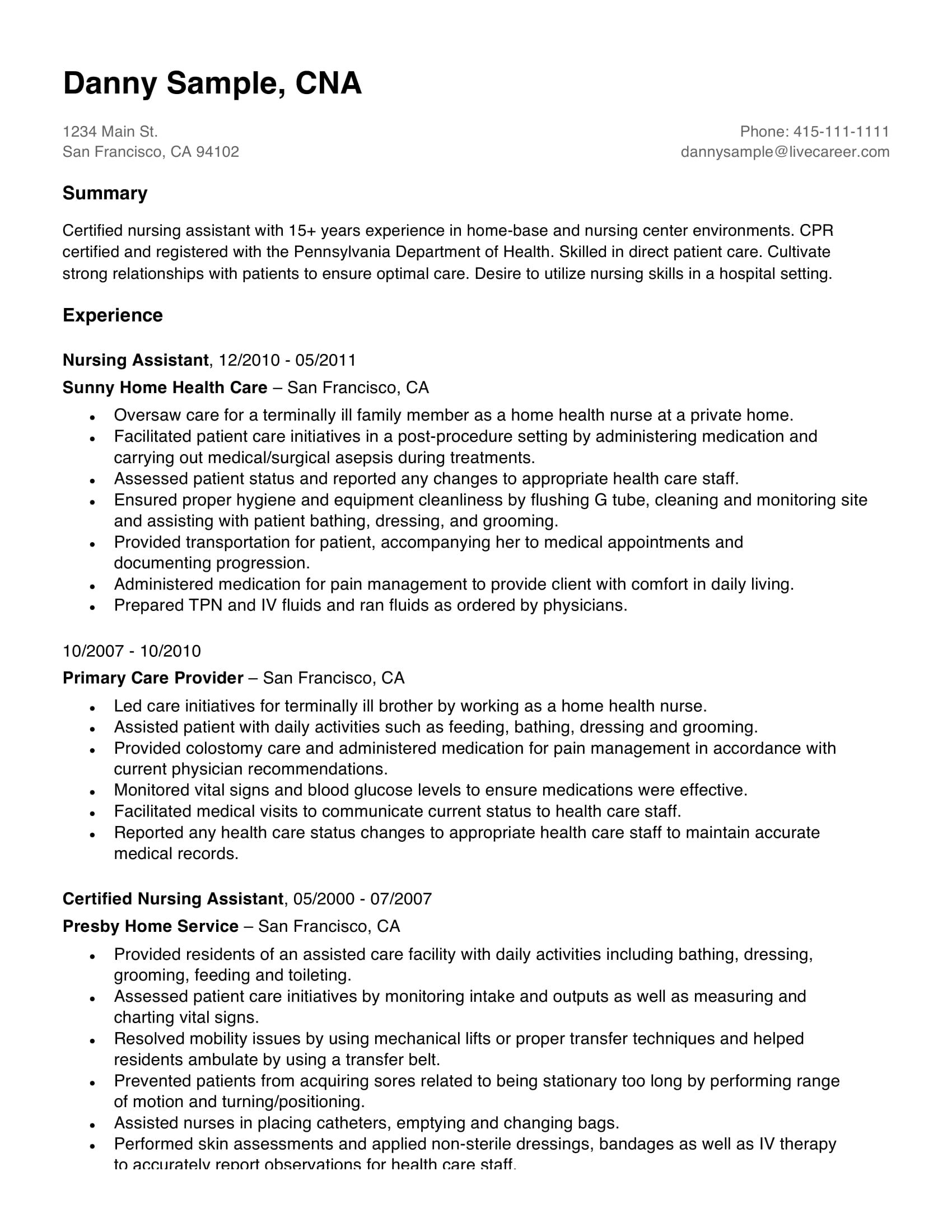resume professional summary for career change