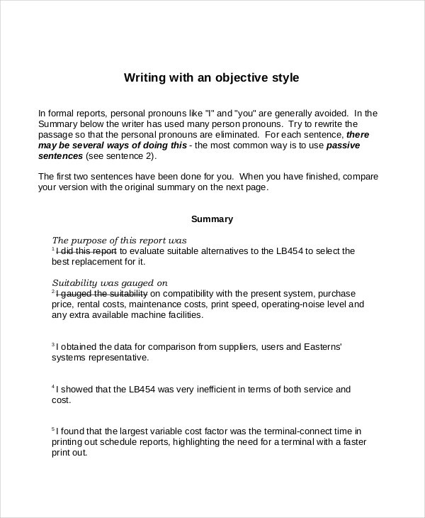Objective Summary Examples PDF Examples