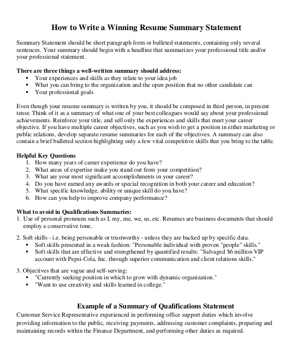 Resume Summary Statement Examples Career Change Resume