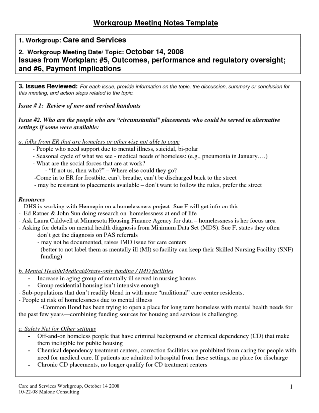 Meeting Summary Examples - PDF  Examples