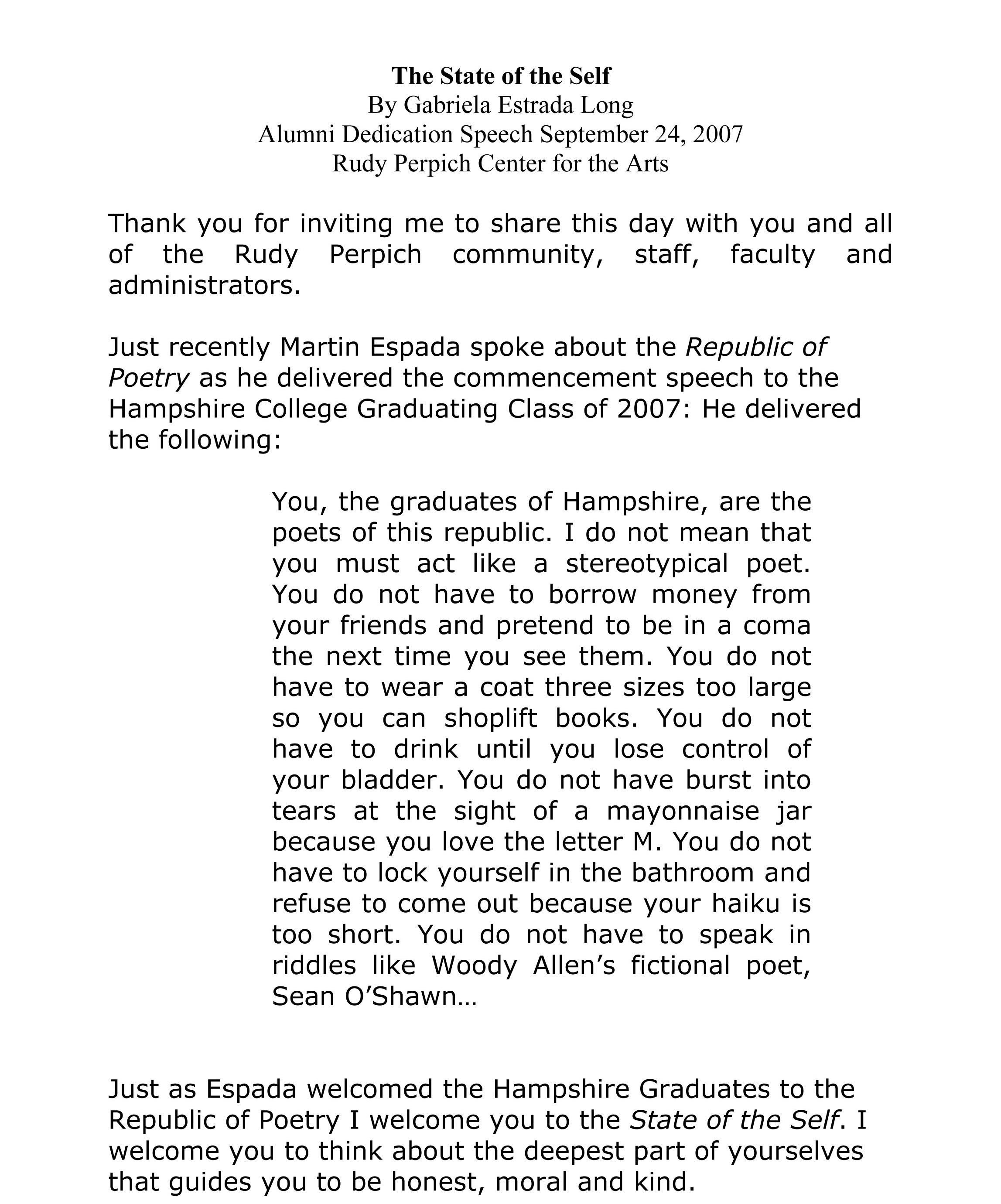 Dedication Speech Examples PDF