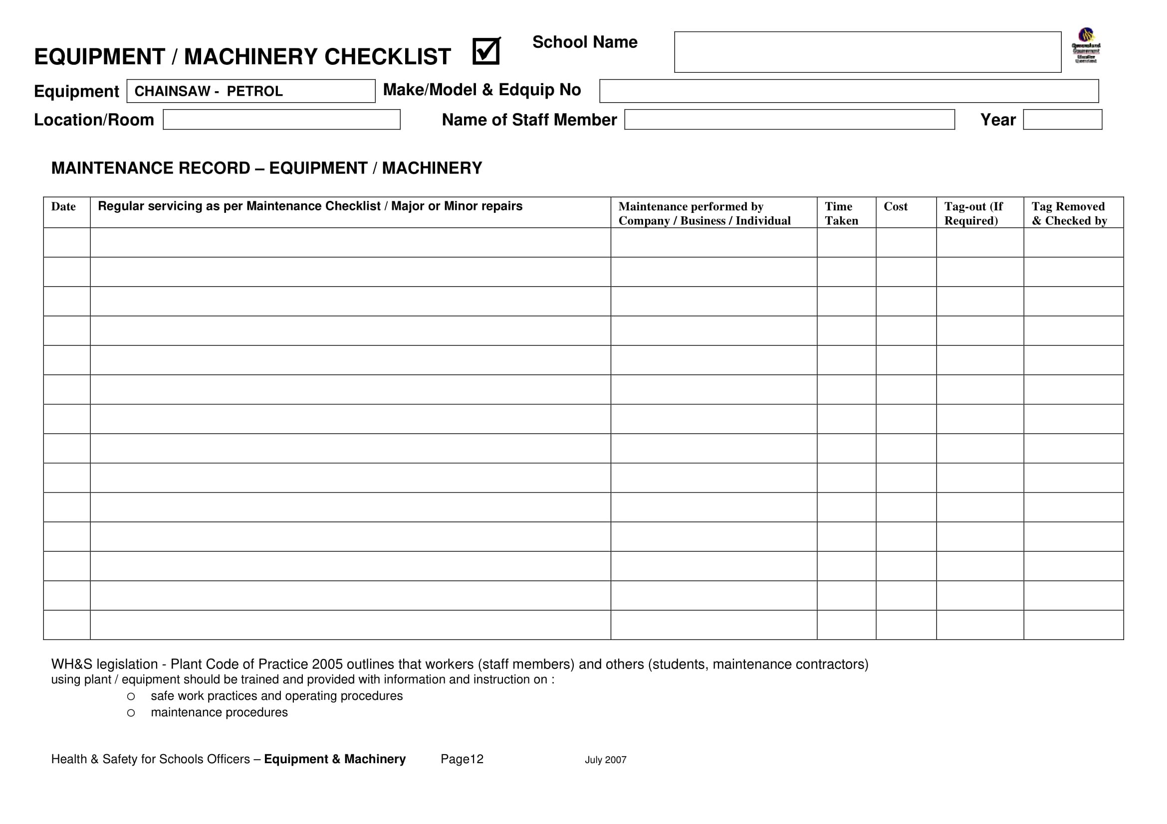 12 Equipment Checklist Examples
