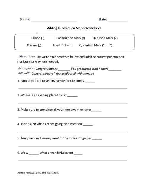 small resolution of 10 Punctuation Worksheet Examples in PDF   Examples