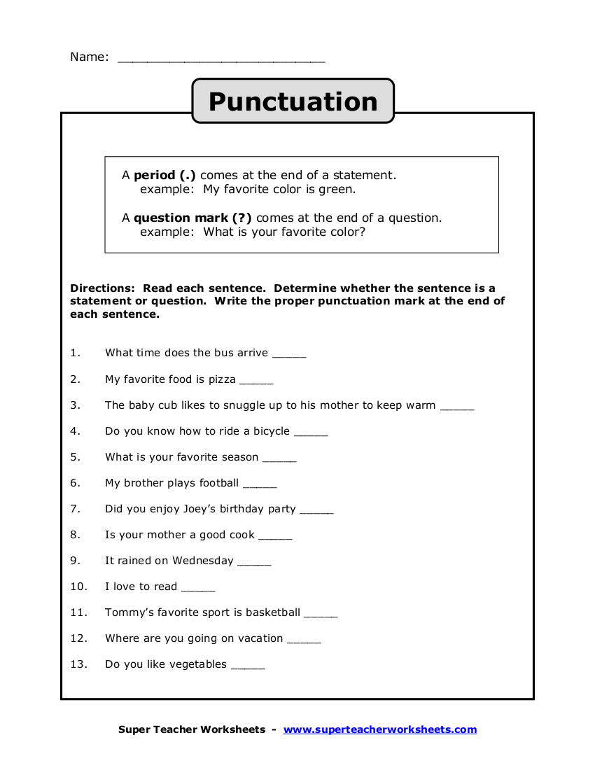 hight resolution of 10 Punctuation Worksheet Examples in PDF   Examples
