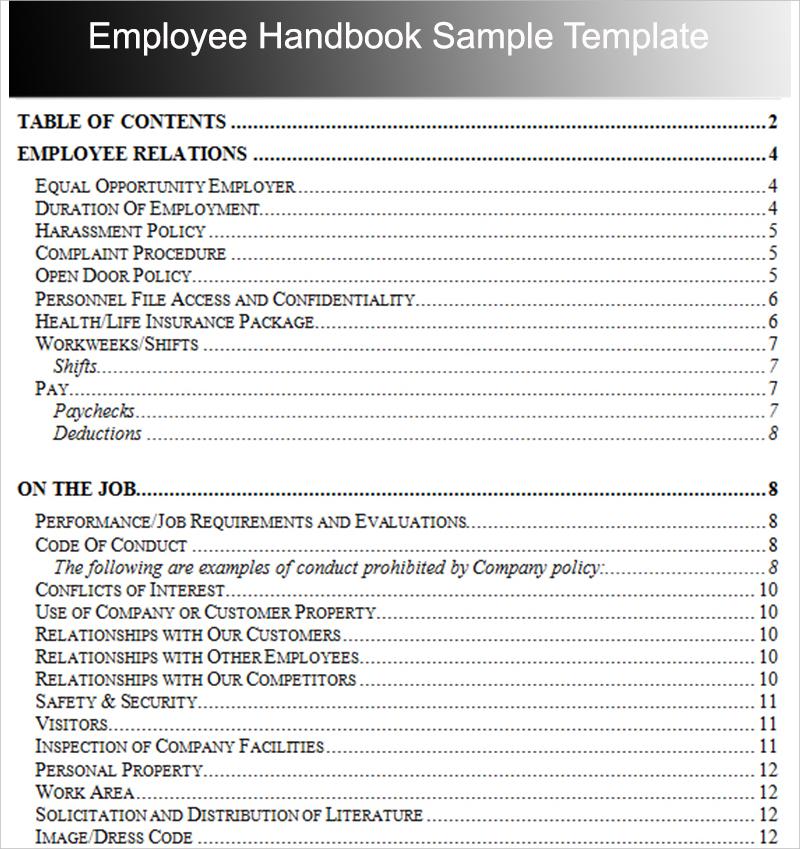 Employee Handbook Outline Examples  PDF  Examples