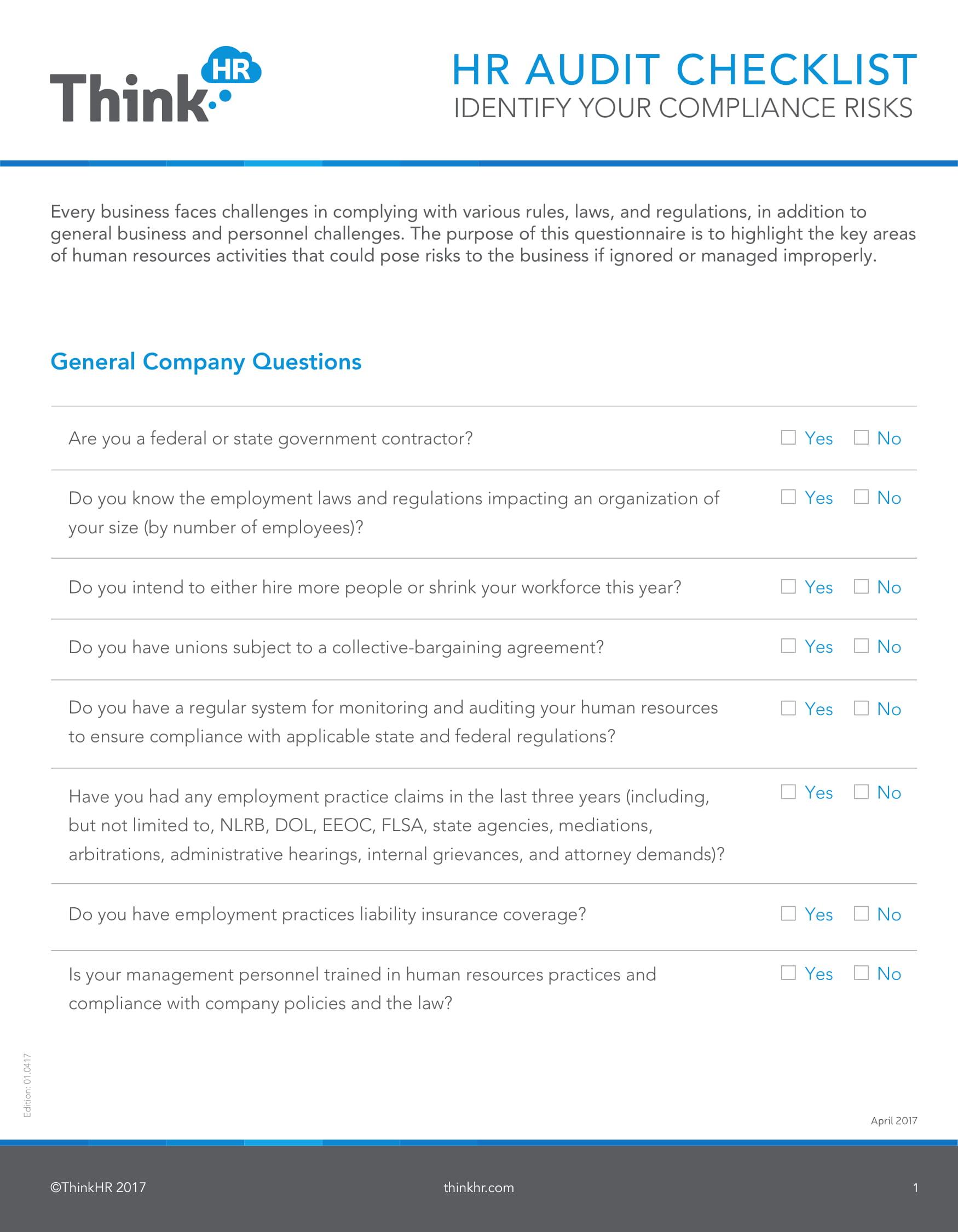 Hr Audit Checklist 1 1