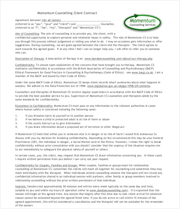 8 Counselling Contract Examples PDF DOC Examples