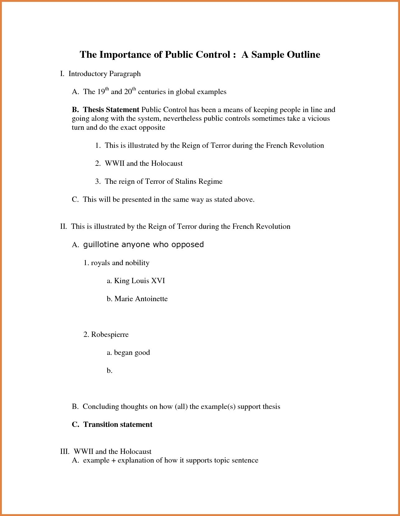 apa style outline examples