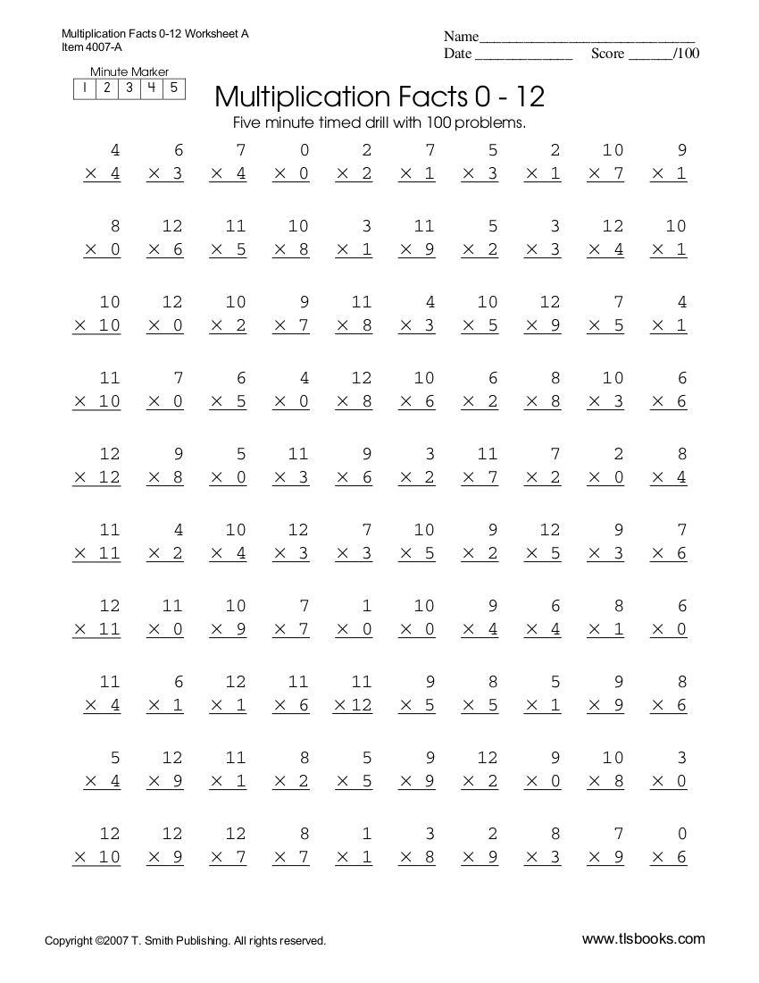 7+ Multiplication Worksheets Examples In Pdf  Examples
