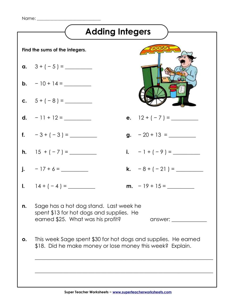 medium resolution of Adding Integers Worksheet Scoreboard   Printable Worksheets and Activities  for Teachers