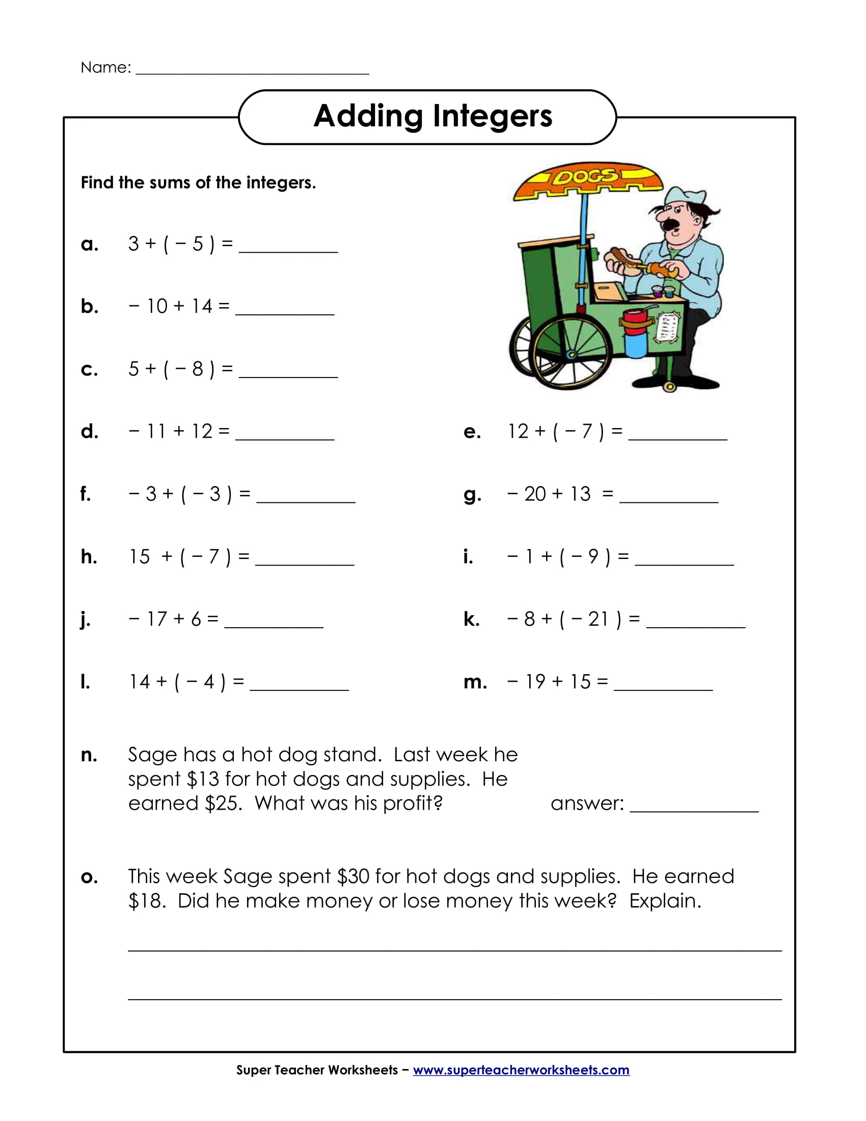 hight resolution of Adding Integers Worksheet Scoreboard   Printable Worksheets and Activities  for Teachers