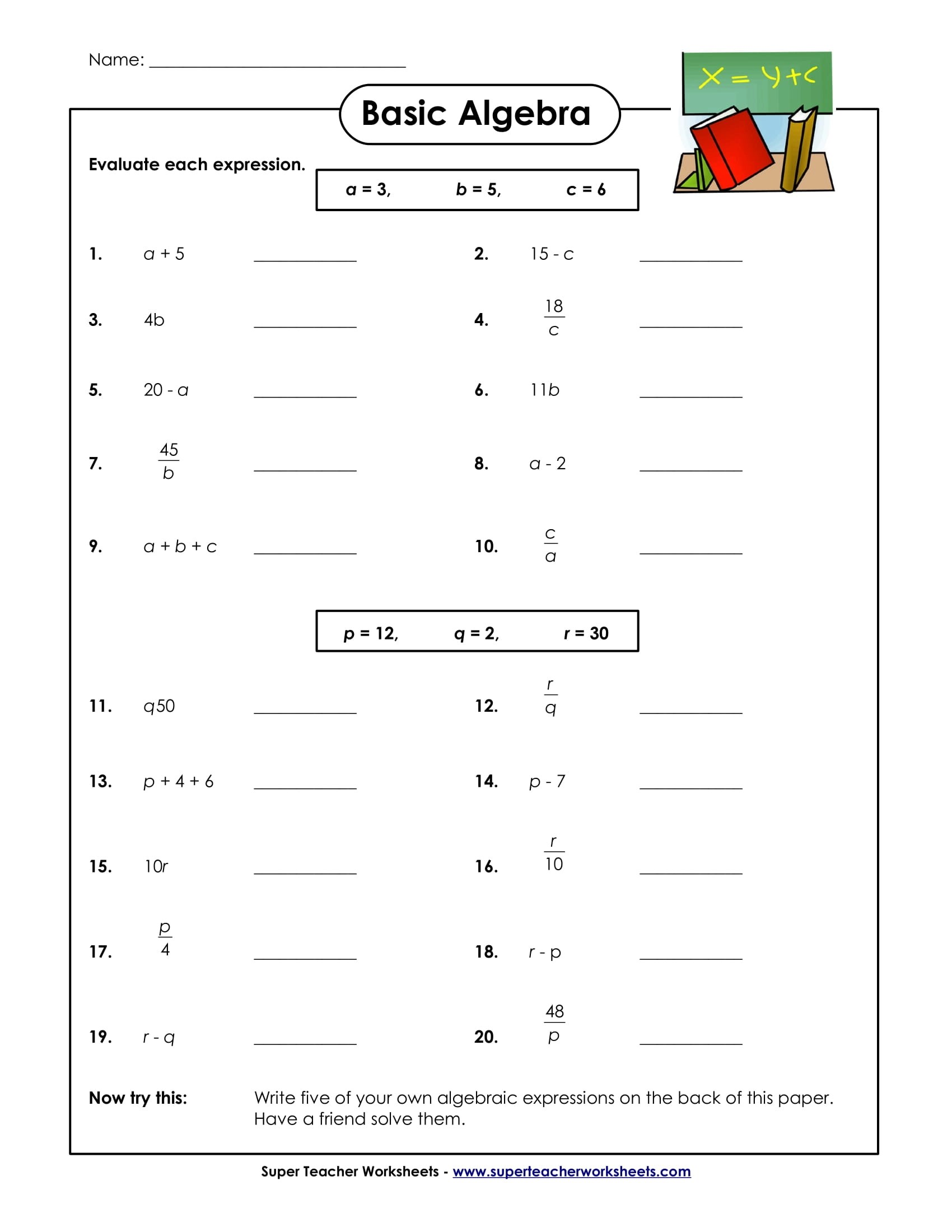 Student Math Test Worksheet