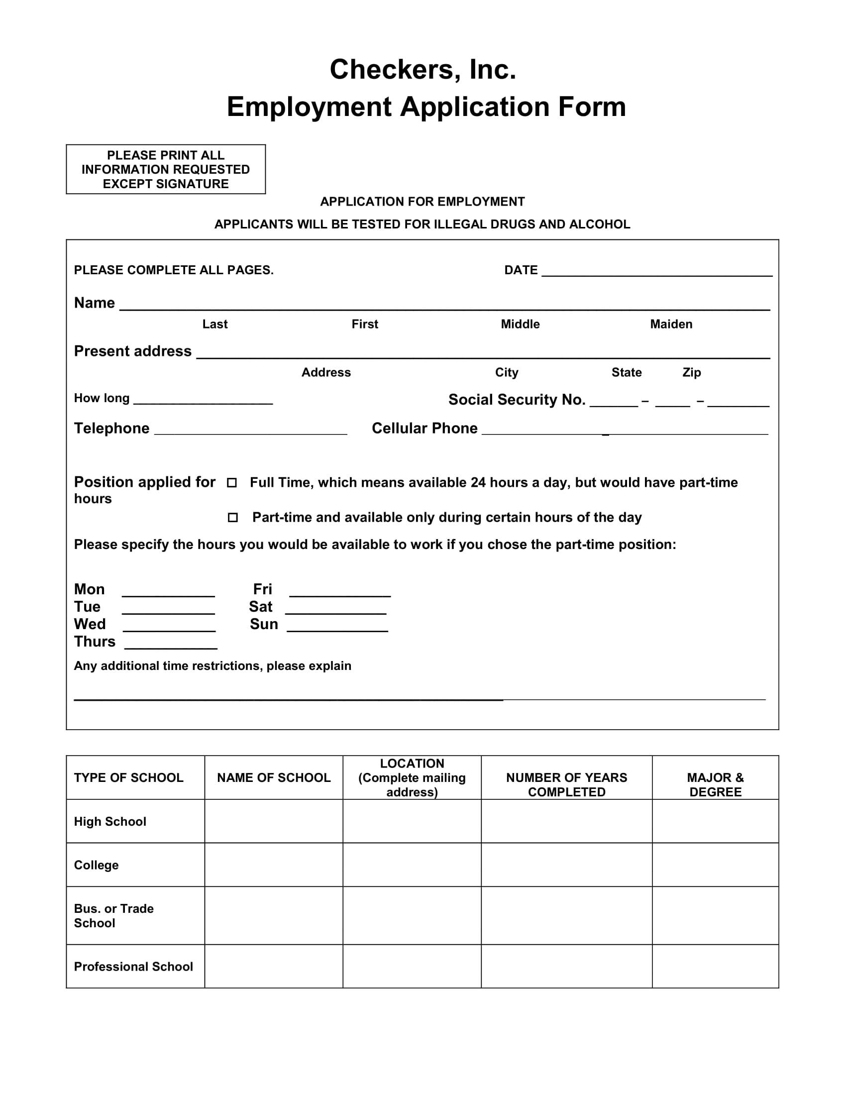 basic employment applications