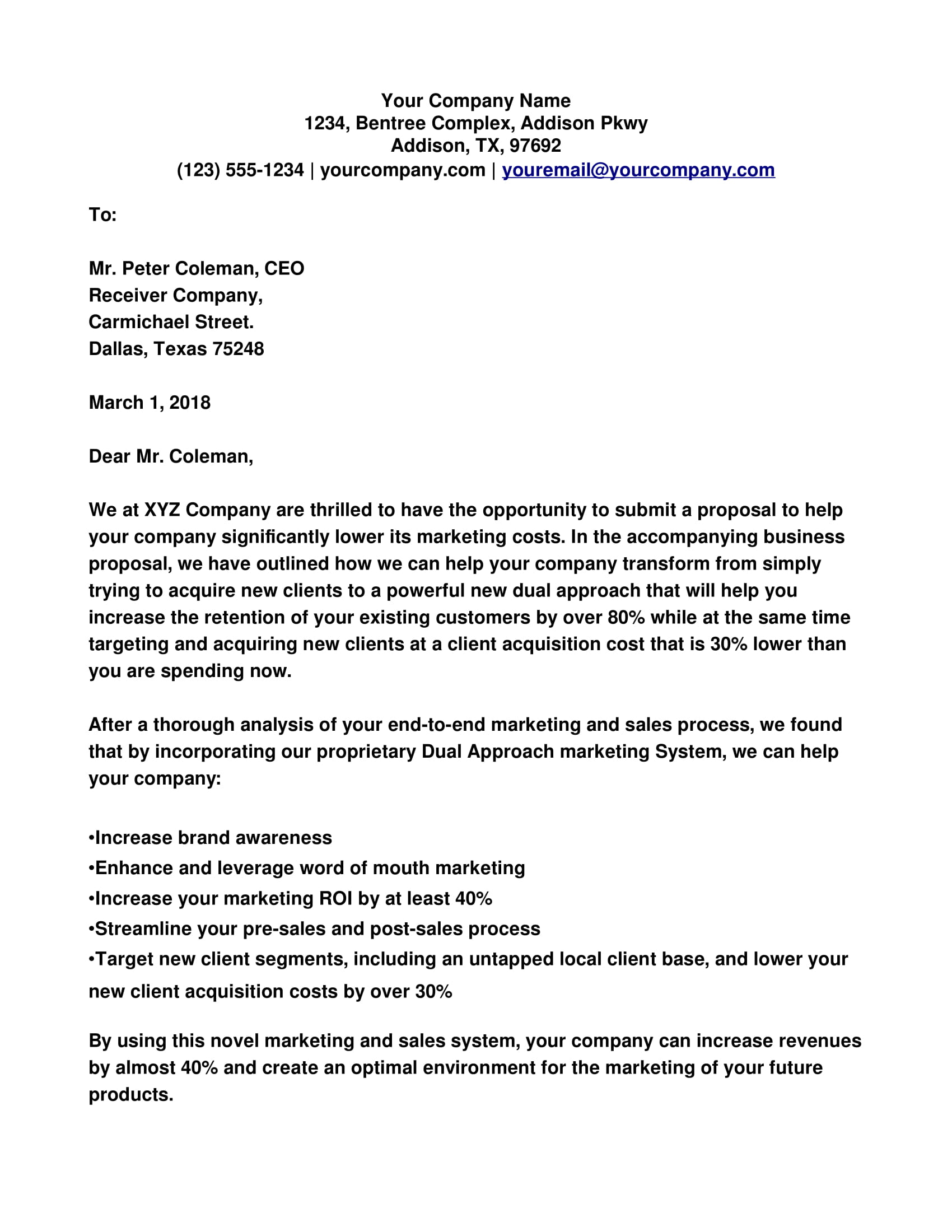 Business Proposal Cover Letter Examples  PDF  Examples