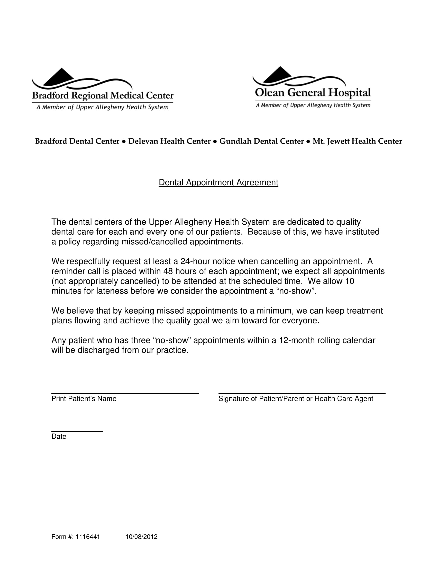 Dental Appointment Letter Example