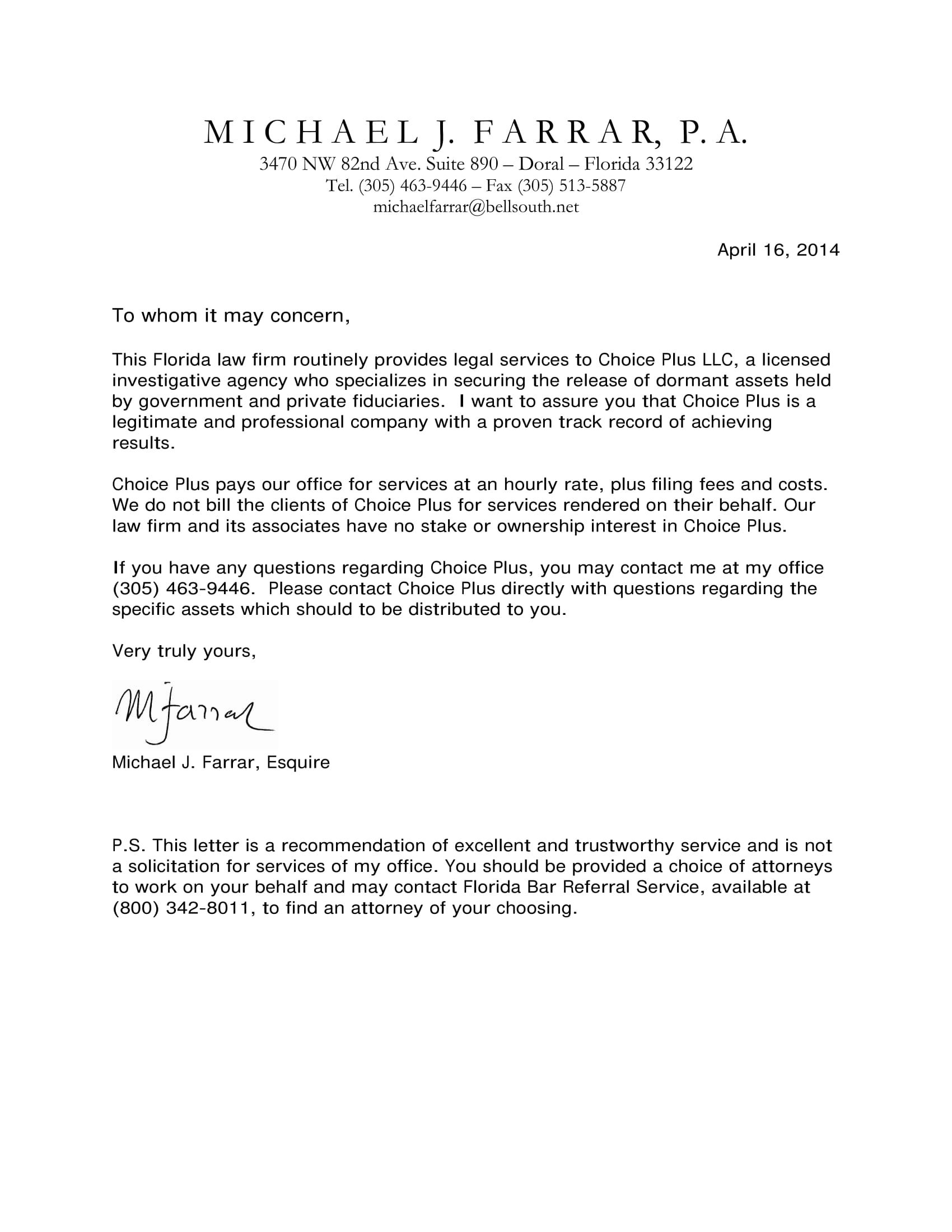 letter of recommendation for company services