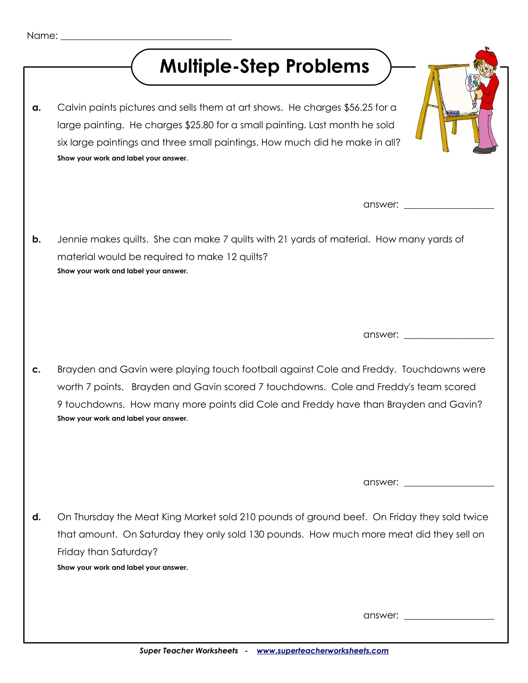 Multiple Step Problems Sample Worksheet