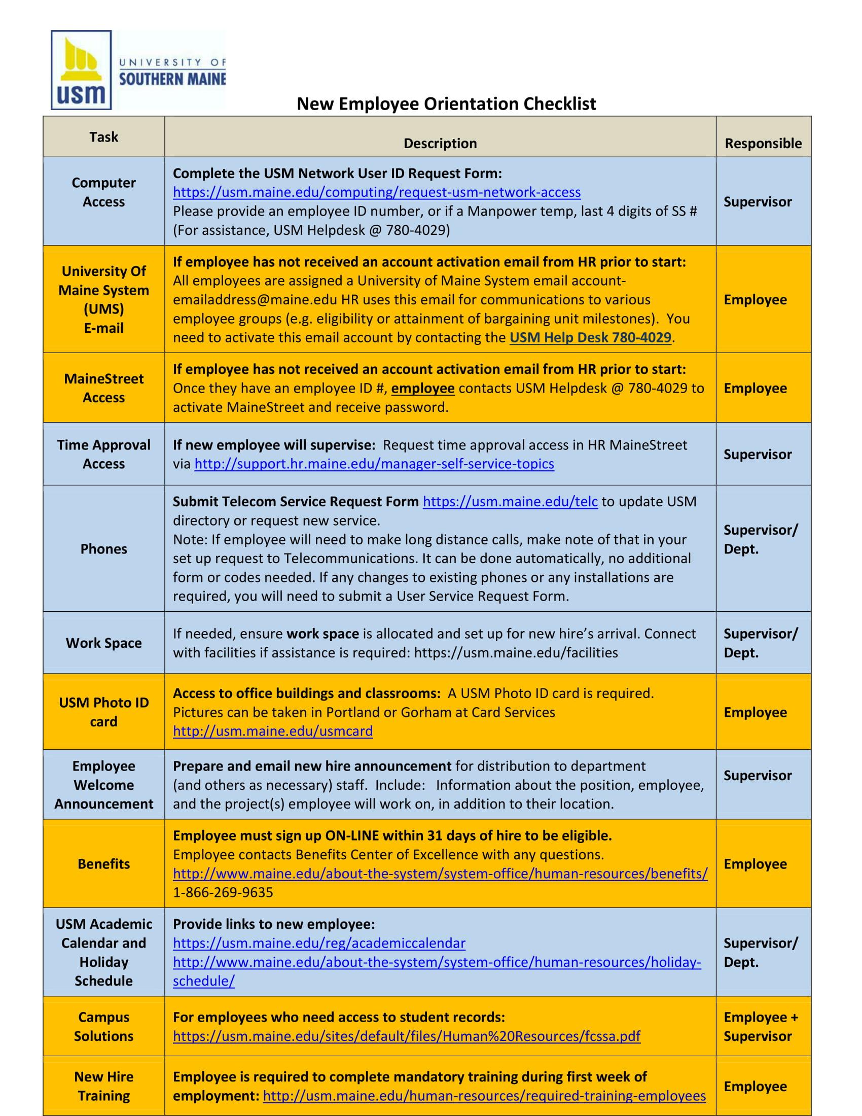 new employees orientation checklist