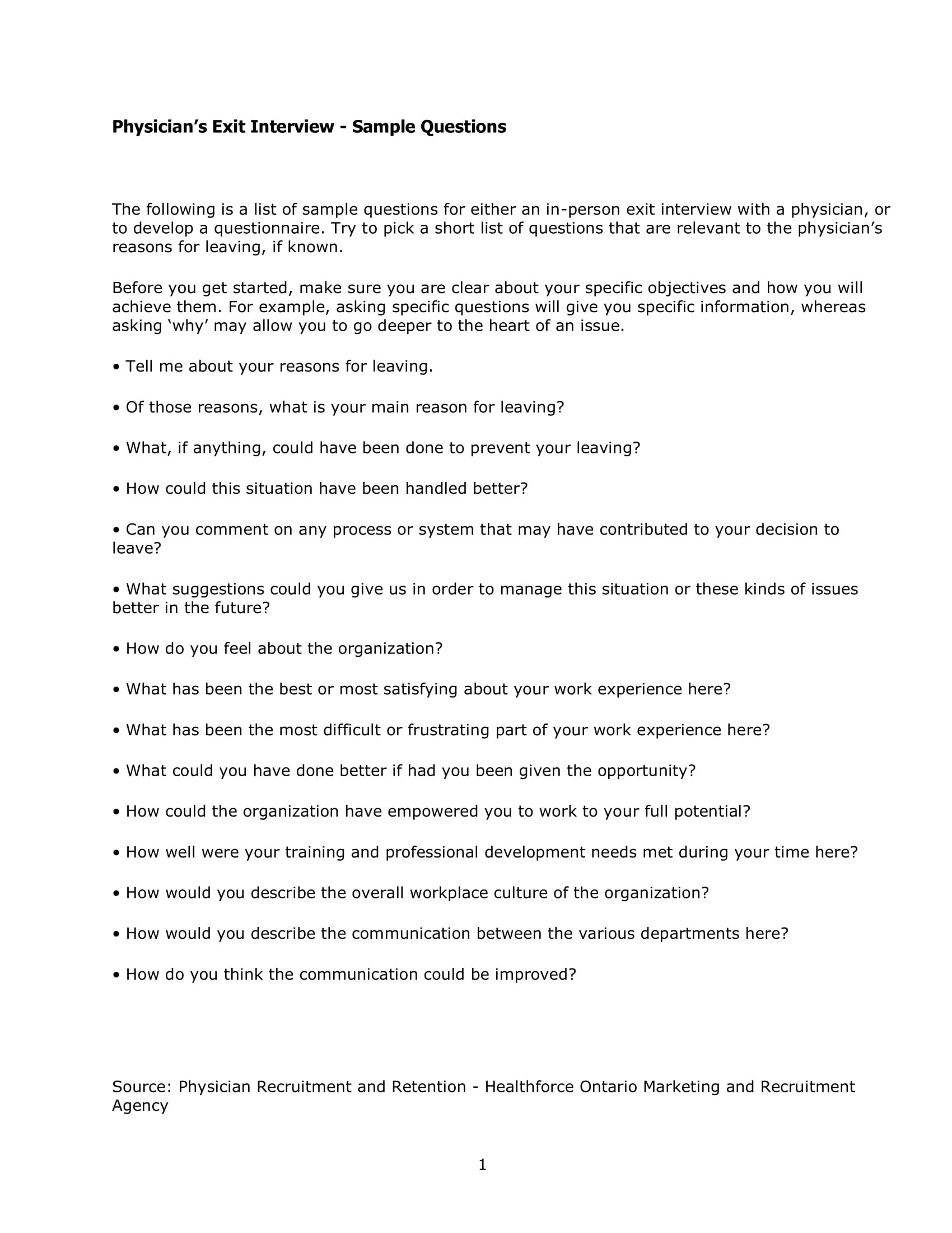 9 Exit Interview Form Examples  PDF  Examples