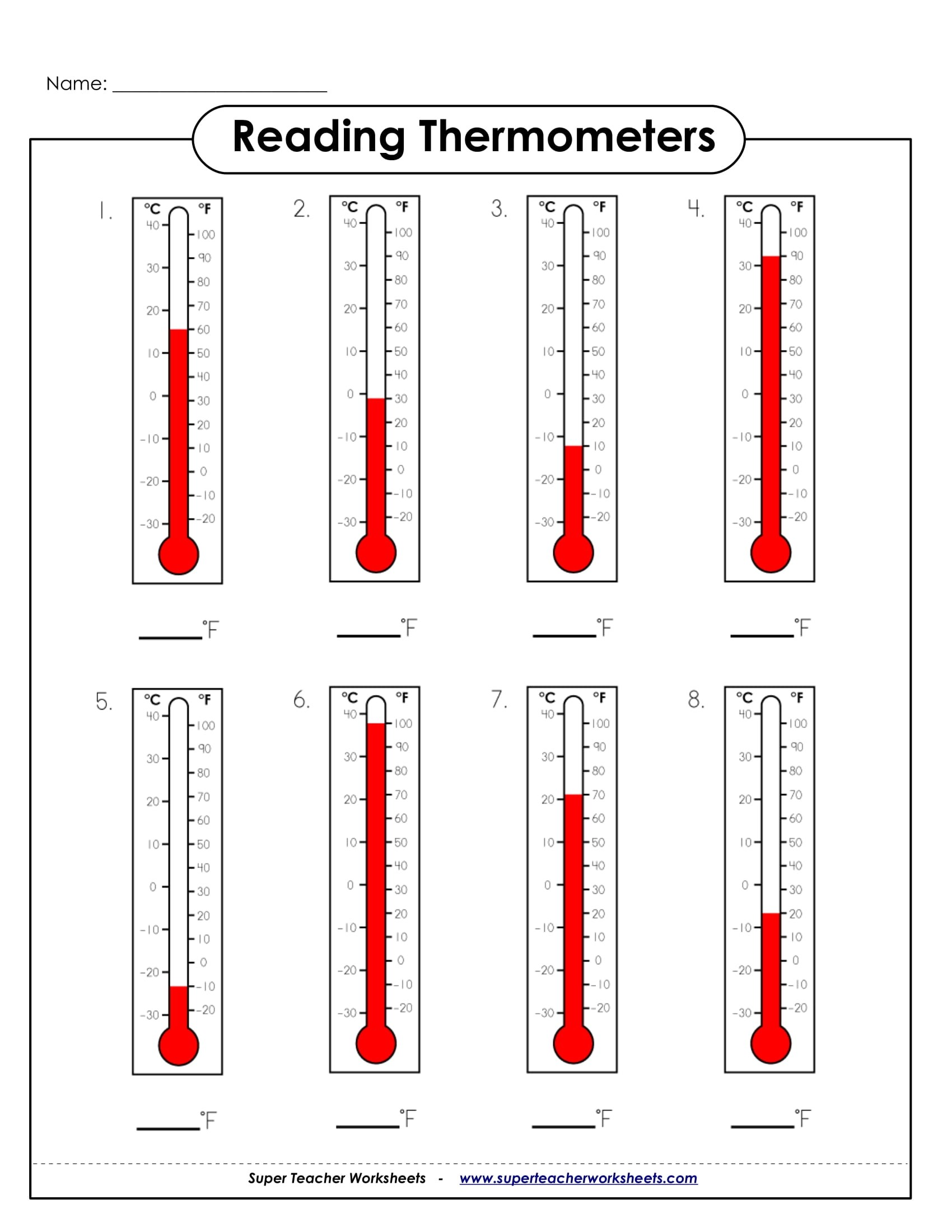 Airport Temperature Worksheet