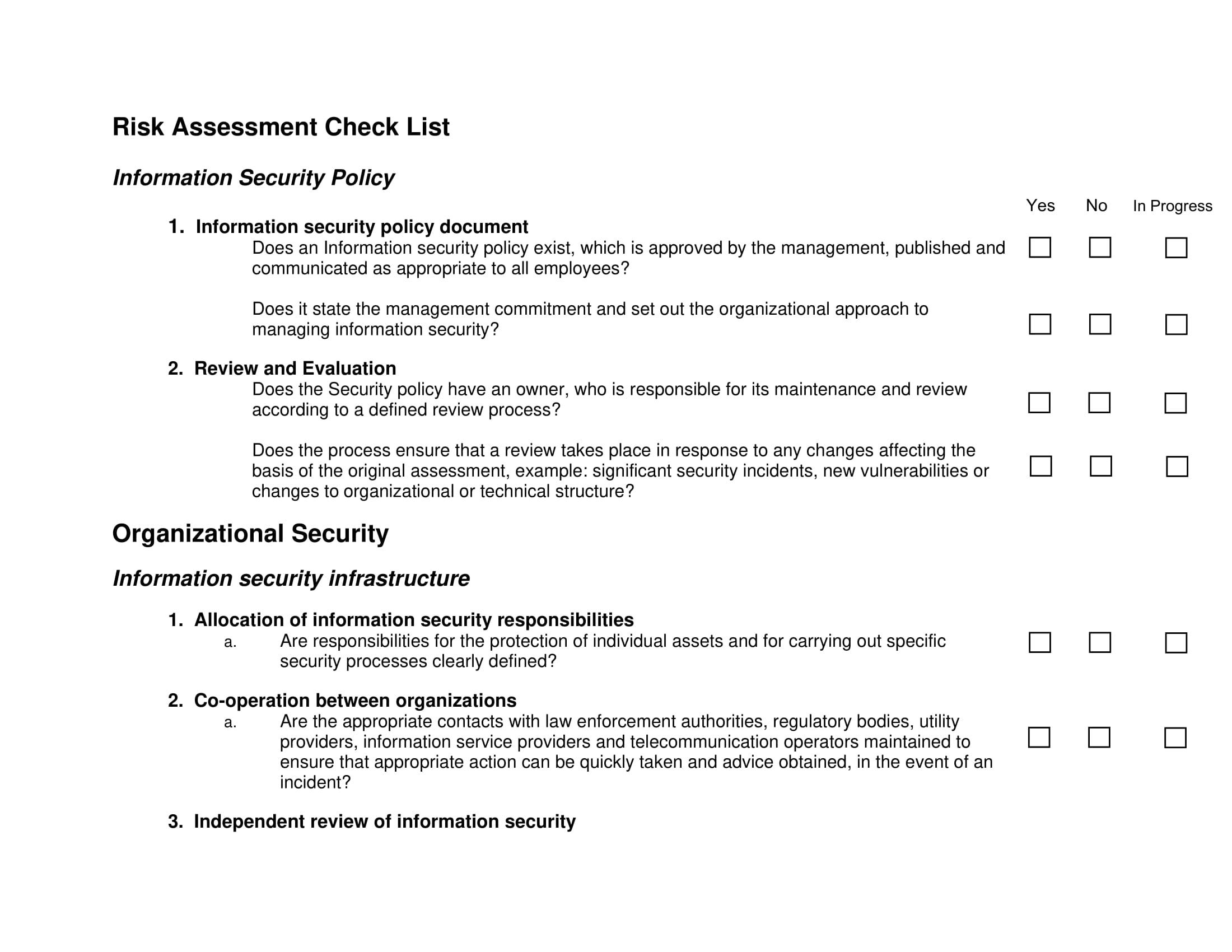 Process Risk Assessment Template