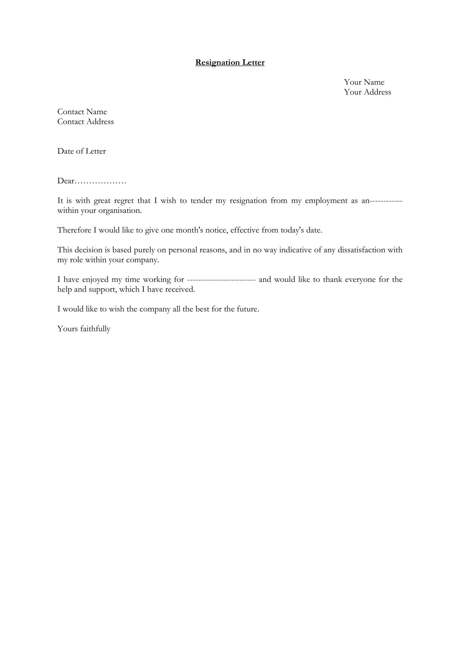 12 Employee Resignation Letter Examples  PDF Word  Examples