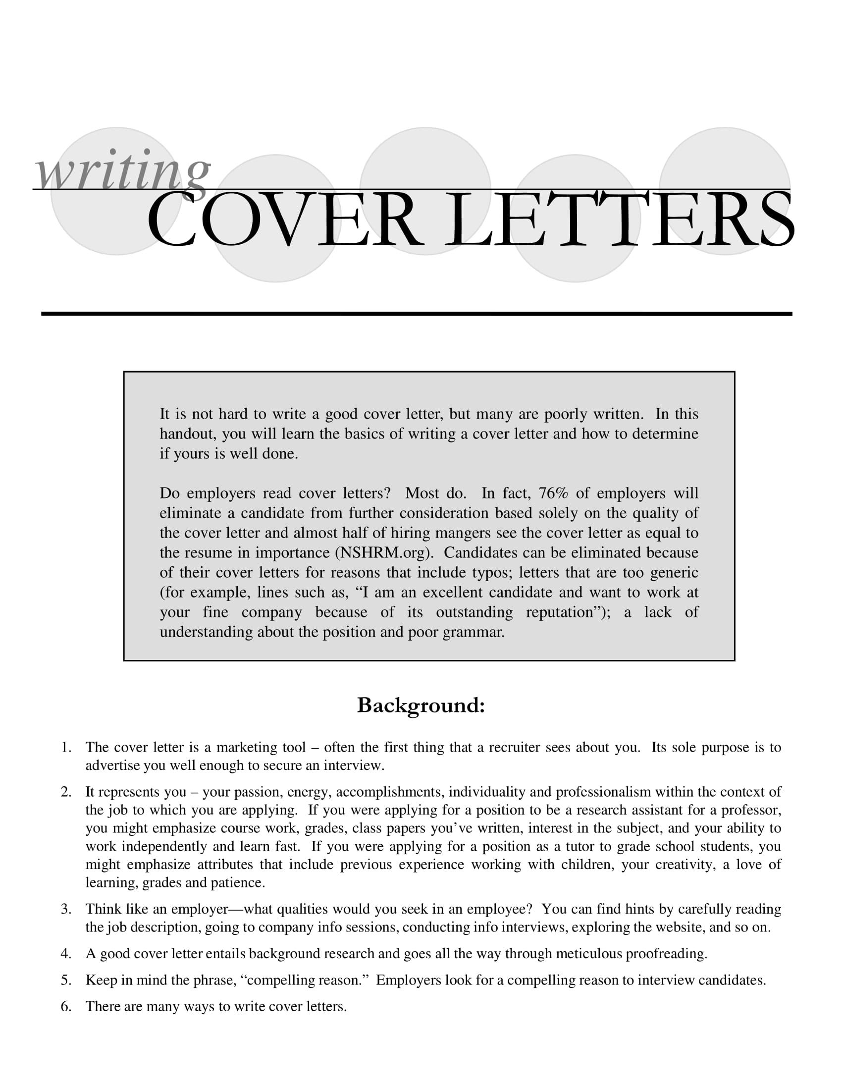 cover letter of application